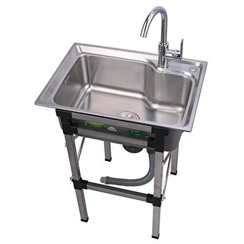 MNBV Estante para Fregadero de Acero Inoxidable, Fregadero de un Solo tazón de Cocina con Soporte, Adecuado para Lavar a Mano Herramientas de Limpieza y lavavajillas Paquete B-60 & Times; 45cm
