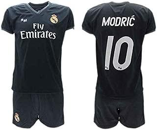 Conjunto 2ª Equipación Fútbol Luka Modric 10 Real Madrid C.F. Negra Away Temporada 2018-2019 Replica Oficial con Licencia - Caja de Regalo Camisa + Pantalón Corto