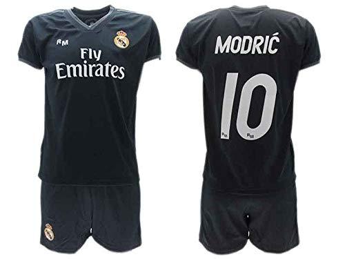 Conjunto 2ª Equipación Fútbol Luka Modric 10 Real Madrid C.F. Negra Away Temporada 2018-2019 Replica Oficial con Licencia - Caja de Regalo Camisa + Pantalón Corto (14 AÑOS)