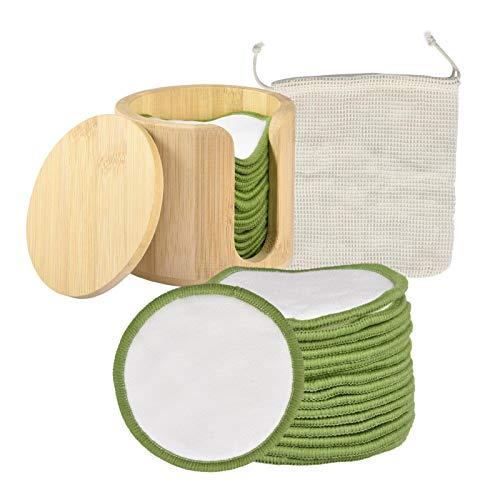 Almohadillas desmaquillantes Reutilizables, Juego de 16 Piezas, Almohadillas desmaquilladoras de bambú Lavables Suaves de Primera Calidad, Almohadillas desmaquilladoras con Soporte de bambú