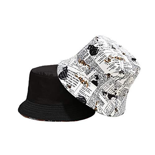 Unisex Reversible Sombreros de cucharón de Ancho EPF50 + Impreso Patrón de Gato Lindo Patrón de algodón Pescadores Plegables,Blanco,M