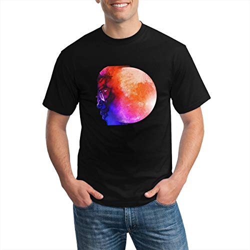Kid Cudi Man on The Moon The End of Day T Shirt Men's Classic Summer Round Neck Short Sleeve Tees Black