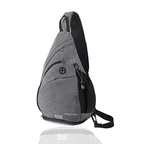 WATERFLY Sling Bag Crossbody Backpack Schulterrucksack mit verstellbarem Schultergurt Perfekt für Outdoorsport, Wandern, Radfahren, Bergsteigen, Reisen