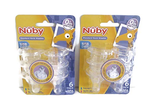 For Sale! 12 Nuby Non Drip Nipples - 2 Sets of 6 Packs (12 Nipples)