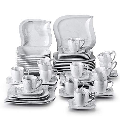 MALACASA, Serie Elvira, 60 TLG. Marmor Porzellan Geschirrset Kombiservice Tafelservice mit Tassen, Untertassen, Dessertteller, Suppenteller und Flachteller für 12 Person
