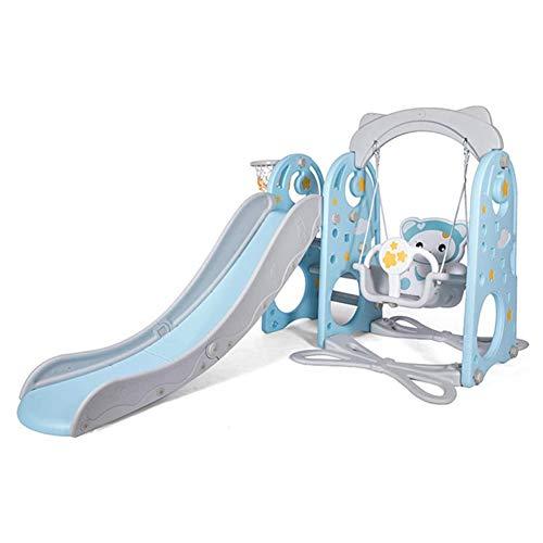 YQZ Juego de Columpios con tobogán para niños, Centro de Actividades 3 en 1, toboganes Independientes, Juguete de escaleras para niños pequeños de Interior con Juego de aro de Baloncesto,Azul