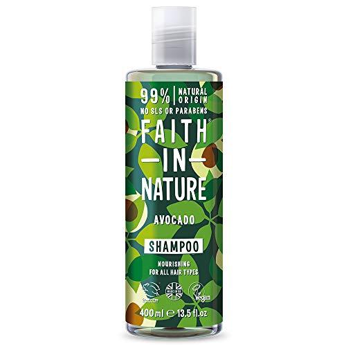 Faith in Nature Shampoing Naturel Avocat, Nourissant, Végan et Respectueux des Animaux, Sans Parabènes et Sans SLS, Tous Types de Cheveux, 400ml