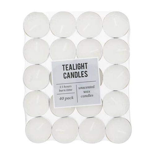 Tealight Candles Unscented Wax Candle 3.5 hours burn time 40 Pack