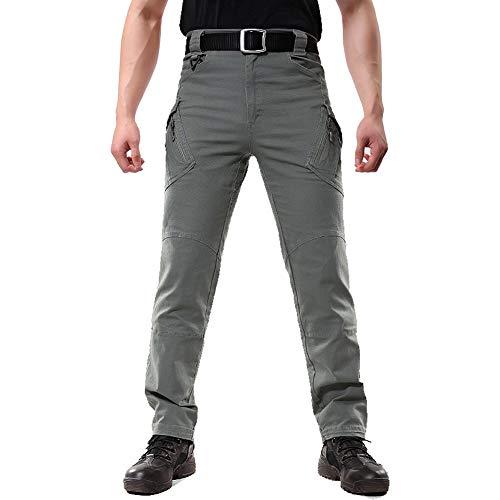FEDTOSING Cargohose Herren Vintage Militär Tactical Hosen mit Stretch Arbeitshose Outdoor Viele Taschen Leichte Baumwolle Green 36x32