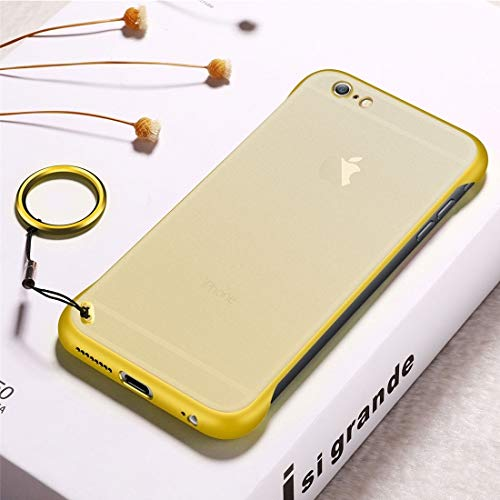 Wdckxy - Funda protectora para iPhone 6 Plus (poliuretano termoplástico, antideslizante, con anillo de metal), color amarillo