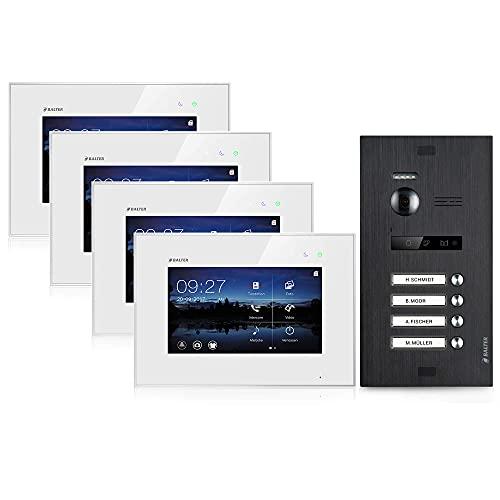 BALTER EVO Video-Türsprechanlage ✓ Touchscreen 7 Zoll Monitor ✓ Türstation Schwarz ✓ Klingel ✓ 2-Draht BUS ✓ 150° Weitwinkel-Kamera (4 Familienhaus (4 Klingel), Ohne App)