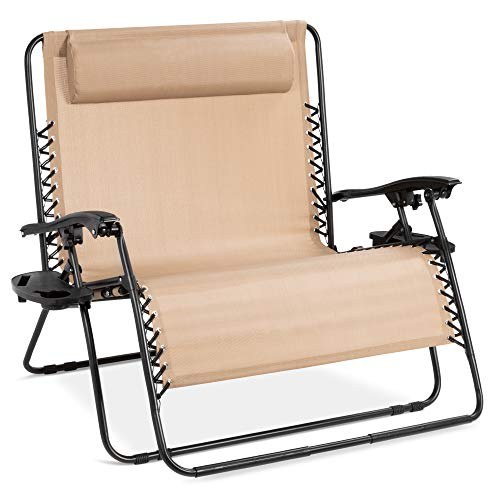 Best Choice Products 2-Person Double Wide Folding Mesh Zero Gravity Chair w/Cup Holders, Beige