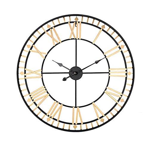 Reloj de Pared silencioso con números Romanos, Vintage Reloj de Pared de Metal, No Tictac Ideal para salón Cocina café Hotel y Oficina decoración del hogar
