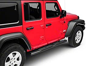 RED ROCK Redrock 4x4 Pinnacle Oval Bent End Side Step Bars in Textured Black - for Jeep Wrangler JL 4 Door 2018-2020