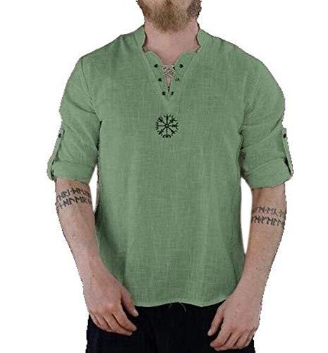 Mannen middeleeuwse tuniek V-hals Shirt met lange mouwen Hippie Grandad Shirt Pirate Shirt kostuum kleding