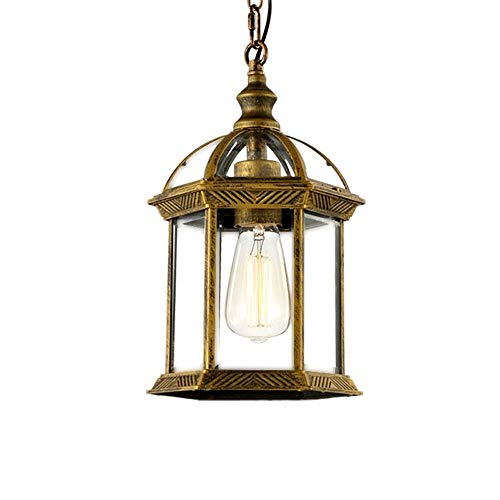 Memnk Lámpara de linterna colgante al aire libre Lámpara de techo clásica europea Colgante de iluminación de isla Casa de campo Farol vintage Lámpara colgante de porche en bronce frotado con aceite E2