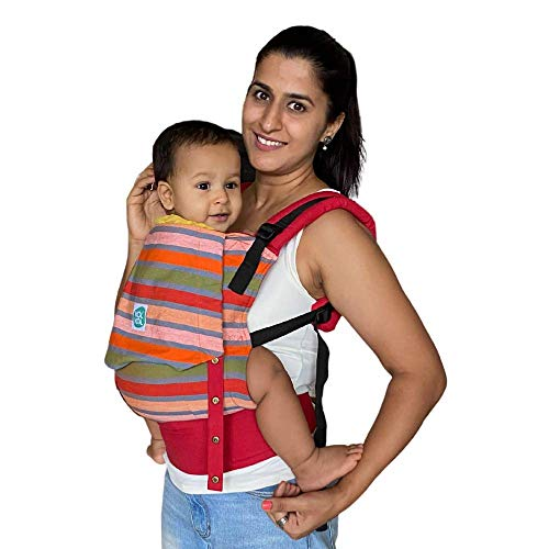 Kol Kol Baby Carrier Hand Woven Cotton, Light-Weight, Safe and Ergonomic Baby Carry Bag with Hood and 2 Carry Positions, for 4 Months To 3 Year Old Baby, Multicolor Stripes - Suitable for Men Women