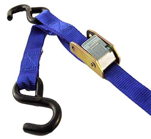 """PROGRIP 412440 Light Duty Cargo Tie Down Strap with Polyester Webbing and Coated S-Hooks: Standard Cambuckle, 6' x 1"""" (Pack of 4)"""