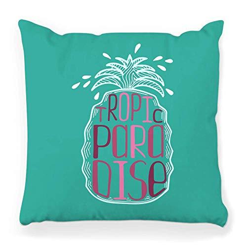 REAlCOOL Funda de almohada cuadrada suave de 45,7 x 45,7 cm, diseño de piña, trópico paraíso abstracto, banderín de caligrafía, círculo de colores