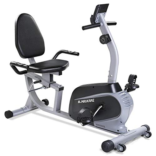 Maxkare Magnetic Recumbent Exercise Bike Indoor Stationary Bike with Adjustable Cushion...