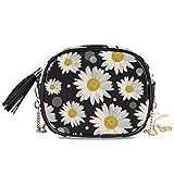 QMIN - Bolso bandolera de verano con diseño de margaritas florales y lunares, pequeño bolso de mano, de piel sintética, con correa de cadena, borlas para mujeres y niñas
