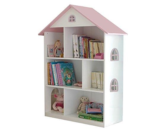 Liberty House Toys–Libreria casa delle Bambole Bianco con Tetto Rosa, Legno, Bianco/Rosa, 83x 30x 106.5cm