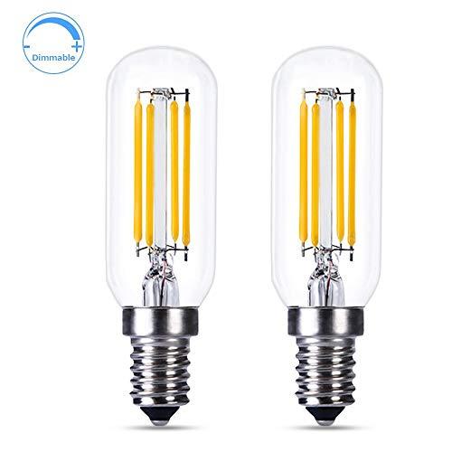 E14 LED Dimmbar Kerzenform für Dunstabzugshaube, Warmweiß 2700K, T25, 4W LED-Filament Ersatz für Glühlampe 40W, 400LM, AC 230V, Glühbirne E14 Kerze LED Dimmbar für Kronleuchter, 2er-Set