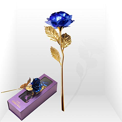 Purple Rose Flower Present 24K Golden Foil Gift Box Great Rose Gift for Valentine's Day, Mother's Day, Thanksgiving Day, Christmas, Birthday, Anniversary