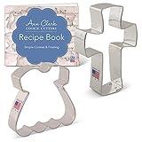 Cortadores de galletas Ann Clark de 2 piezas para bautizo religioso o primera comunión, con folleto de recetas, vestido y cruz sagrada
