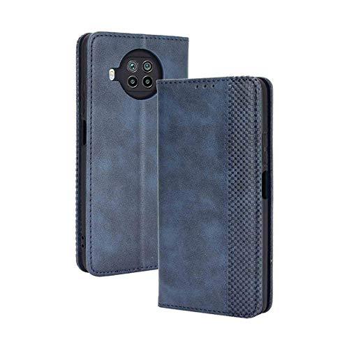 GOGME Leather Folio Funda para Xiaomi Mi 10T Lite 5G Funda, Flip Wallet Carcasa Tipo Libro Protector Magnético y Plegable de PU + TPU Soporte de Ranuras para Tarjetas, Azul