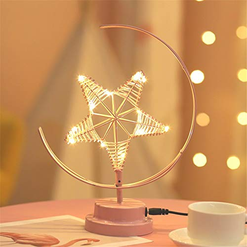 HMLIGHT Kreative LED-Tischlampe Handgefertigte Modellierung Lichter Stern Weihnachten Schmiedeeisen Gewebte Nachtlicht-Raum-Geschenk-Partei-Dekor-Licht,Rosa