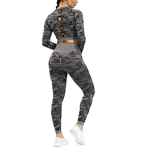 Zhuhaixmy Damen Sportbekleidungs Set Camo Nahtlose Yoga Anzug Top & Leggings Stretch-Fit Gym Wear Set Trainingsanzüge