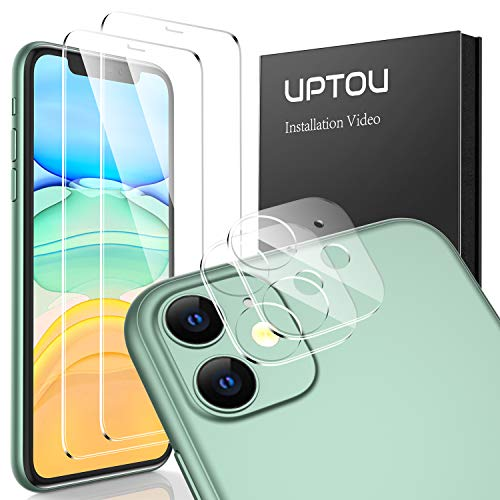 UPTOU iPhone 11 Tempered Glass Screen Protector [6.1 inch, 2 Pack] and Camera Lens Protector [2 Pack], 9H Hardness Glass Screen Protector Anti Scratch, No Bubble, Clear