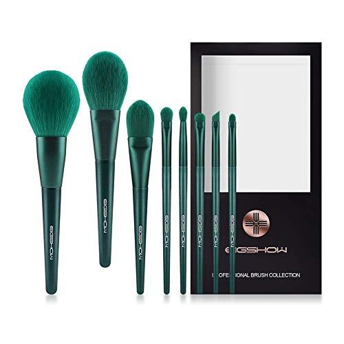 EIGSHOW Make up Pinsel, 8 Teile professionelle pinselset, synthetische grüne Kosmetik, Pinsel für Foundation, Puder, Concealer, zum Mischen von Lidschatten und für Kabuki Make-up