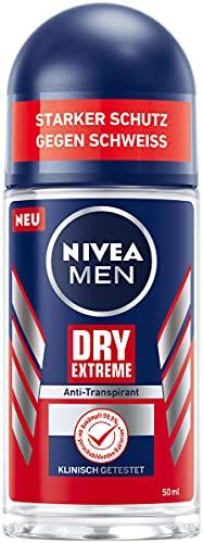 NIVEA MEN Dry Extreme Deo Roll-On (50 ml), Anti-Transpirant schützt vor allen Arten des Schwitzens, starkes Deodorant mit hochwirksamem Zinkkomplex