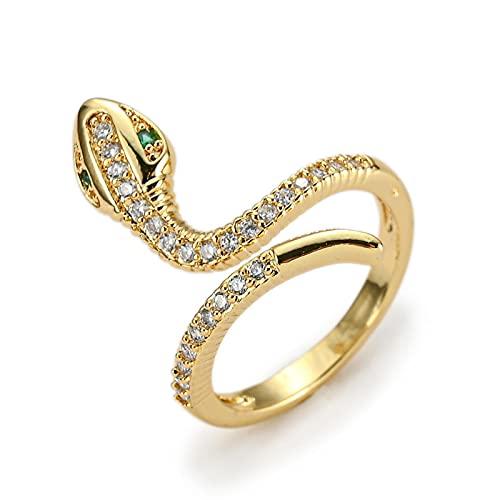 LOKILOKI Elegante Anello Serpente Color Oro per Donna Ragazza Regolabile Squisito Anello di Barretta con Zirconi Cubici Regalo di Moda Gioielli da Sposa