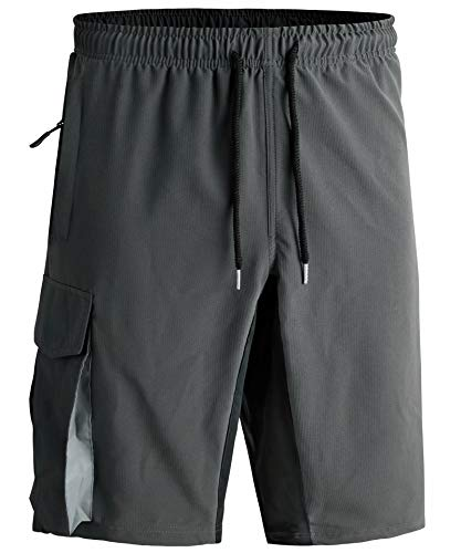 VtuAOL Men's Elastic Waist Cargo Shorts Comfy Relaxed Active Shorts with Pockets Grey US L