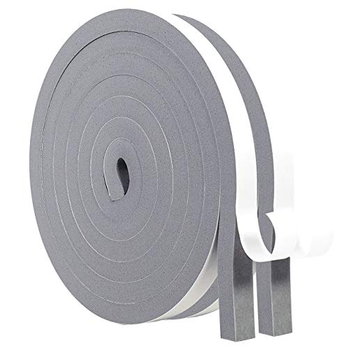 MAGZO Weatherstrip Adhesive 1/2x1/2 Inch Weather Stripping Door Seal Strip 6.5ft x 2 Rolls Gray