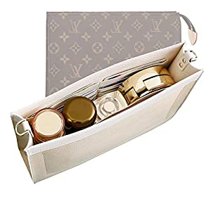 OAikor Purse Insert Organizer Bag compatible with LV Toiletry Pouch 26 19 Premium Microfiber leather Handbag Shaper with Gold Buckles