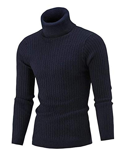 QZH.DUAO Cameinic Men's Casual Slim Fit Turtleneck Pullover Sweaters Navy