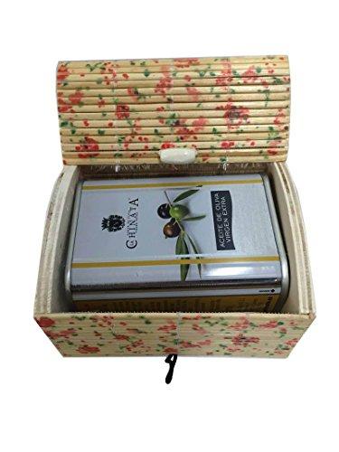 Regalo de boda con lata de Aceite de Oliva Virgen Extra de La Chinata en baúl floreado de madera (Pack 24 ud)