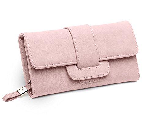 DNFC Geldbörse Damen Portemonnaie Lang Portmonee Elegant Clutch Handtasche Groß Geldbeutel PU Leder Geldtasche mit Reißverschluss und Druckknopf für Frauen (Rosa)