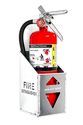 Black Boar Aluminum Holderfor Enclosed Trailer/Garage | Securely Holds a 5lb. fire Extinguisher | Durable Construction | Easy to Install (66105)