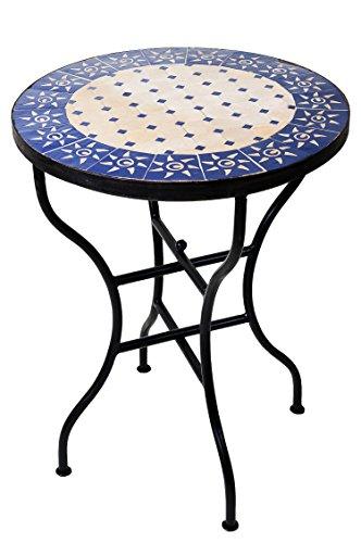 ORIGINAL Marokkanischer Mosaiktisch Bistrotisch ø 60cm Groß rund klappbar | Runder Kleiner Mosaik Gartentisch Mediterran | als Klapptisch für Balkon oder Garten | Sonne Natur Blau 60cm