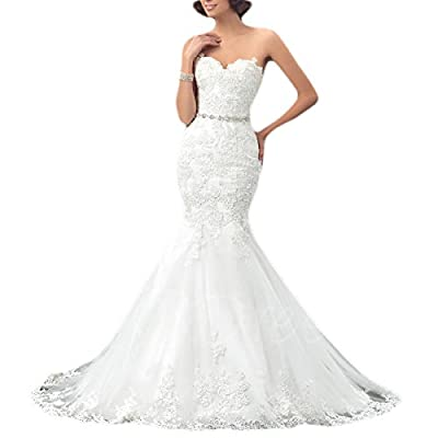 OYISHA Womens Strapless Mermaid Wedding Dress for Bride 2020 Appliques Bridal Dresses Long Custom Ivory