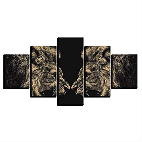 DGGDVP Decoración del hogar Arte de la Pared Cuadros de Lienzo para la Sala de Estar 5 Piezas Leones rugientes Espejo Pintura Modular HD Impresiones Animal Poster Tamaño 2 Sin Marco