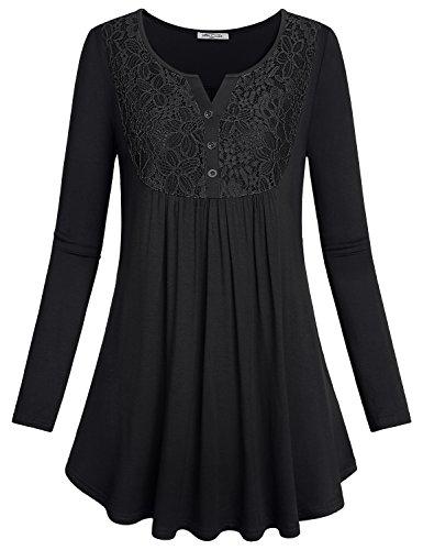 SeSe Code Damen Crewneck Langarm Floral Shirts Ausgestellte Casual Tunika Tops (FBA) - - Large