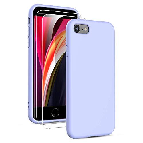 Oududianzi-Cover Compatibile con iPhone SE 2020/7/8 Custodia Morbida in Silicone Liquido + [2 Pack Pellicola Protettiva Vetro Temperato ], Cover Tinta Unita Ultrasottile e Antiurto Gomma Case -Viola