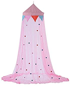 Plentyfuls Pink Princess Canopy for Girls Bed Mosquito Netting Decorative Curtains Around Twin Full and Queen Size Bed or Crib for Kids Girl or Baby