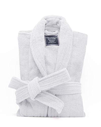 All-Cotton Bathrobe Thick Plush Cloth Housecoat Terry Toweling, Sweat Steaming Clothes Comfortable & Warm (White)